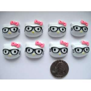 8 Resin Cabochon Flat Back Kitty Cat with Glasses for