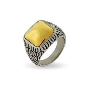 Mens Engravable Designer Inspired Gold Cushion Bali Ring Jewelry