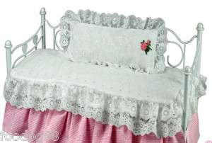 Bedding Comforter Pillow White Eyelet 4ur American Girl doll bed