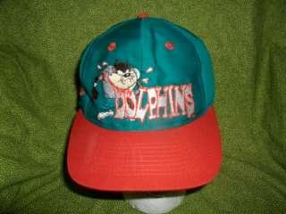 VINTAGE Miami Dolphins Taz Tasmanian Devil Looney Tunes NFL Snapback