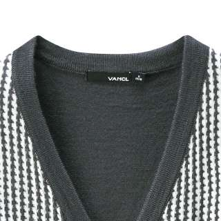 Vancl Mens Sweaters Mens Hundstooth Pattern Wool Blended Cardigan 3