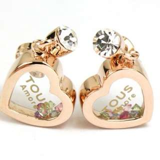 gold GP Swarovski Crystal heart love Dangle drop earring a1302
