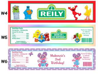 Sesame Street Elmo ~ Printed Water Bottle Labels Birthday Party Favors