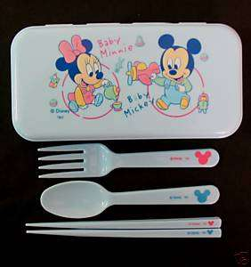 Disney Mickey Minnie Mouse Spoon Fork Chopsticks Set