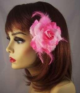 LIGHT PINK Metallic ROSE FLOWER FEATHER HAIR Clip Ponytail Holder