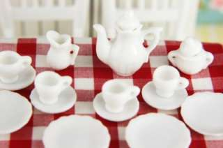 Dollhouse Miniature Vintage China Porcelain Tea Set x17