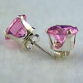 6mm created Pink Sapphire Stud Earrings 925 SS 1.5ct