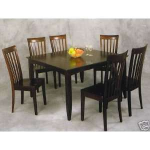 Solid wood dining kitchen table & 4 slat back chairs w/ wood