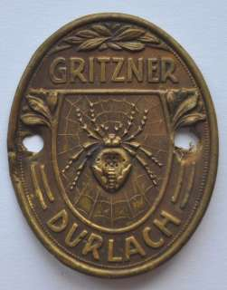Germany Sewing Machine Tag Label GRITZNER DURLACH Spider Type 2