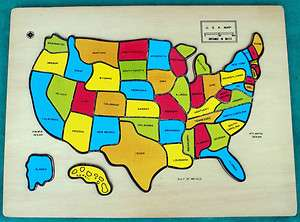 Wooden United States Jigsaw Puzzle Game Map US Geography USA