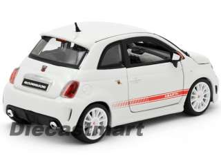 BbURAGO 124 FIAT 500 ABARTH ESSESSE NEW DIECAST MODEL CAR WHITE WHITE
