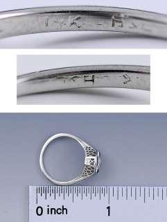 ART DECO 1920s 14K WHITE GOLD FILIGREE SAPPHIRE & DIAMOND RING