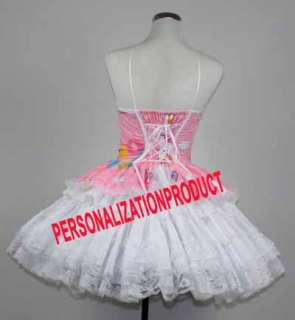 Lolita pink Cosplay Hello Kitty Pattern 3 Ballroom Corset dress