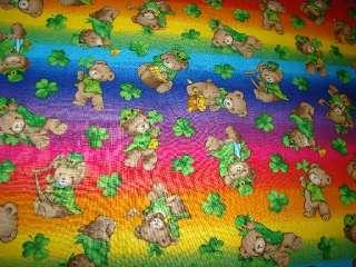 . Patricks Day Bears Shamrocks Rainbow Colors Harp Pot of Gold 2+Yds