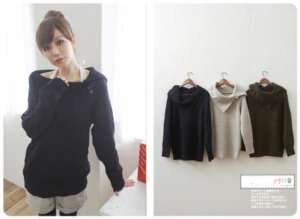 Japanese Korean Fashion Style Simple Special collar long sleeve