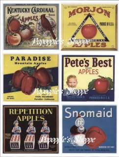 Vintage Label Stickers Repro Food Advertising Apples
