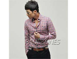 PJ Mens Casual Slim Fit Dress Shirts Tops Plaids& Checks Design US