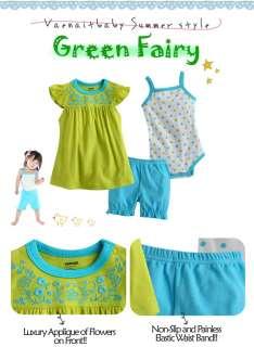 Newborn Baby Girls Dress Bodysuit Pants 3 Set Green Fairy