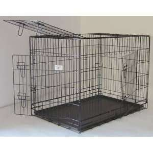 48 3 Door Pet Folding Dog Crate Cage Kennel w/ABS Tray