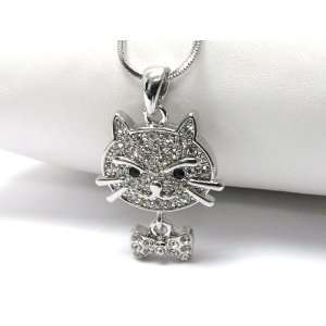 Too Cute Ice Crystal Covered Kitty Cat Head with Bow Tie Dangle Charm