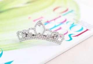 Crystal Rhinestone Lovely Sweet Crown Hairpin Hair Pin Girl