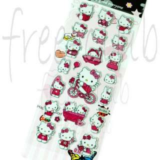 Pinky Bling HELLO KITTY Puffy 3D Sticker Decal (22pc.)