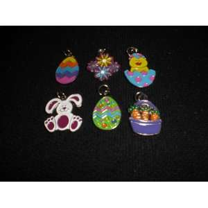 Easter Bunny Eggs Chick Carrots Flowers Enamel Charms Arts, Crafts
