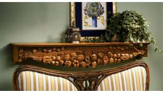 English Manor Hand Carved Solid Hardwood Mantel Wall Pediment