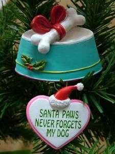 New Santa Paws Hat Pet Dish Dog Bone Christmas Ornament