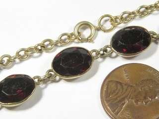 ANTIQUE SILVER GOLD GARNET PASTE RIVIERE NECKLACE c1900