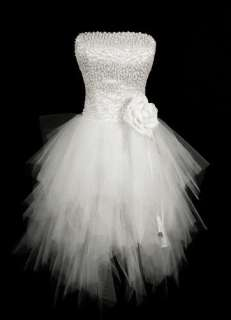 white cocktail Wedding bride Dress formal gown lace up Sz 6 18+