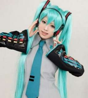 Vocaloid Hatsune Miku Cosplay Straight Wig 120 cm Two Ponytails Party