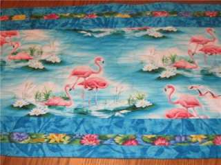 Handmade Table Runner Flamingo tropical Paradise luau