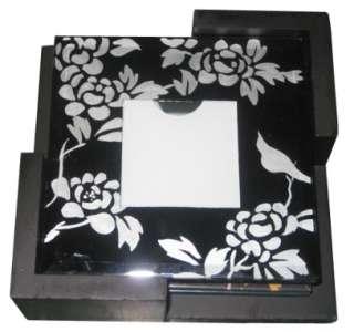 Glass Photo Coaster Set With Caddy, 4 Piece Set NEW