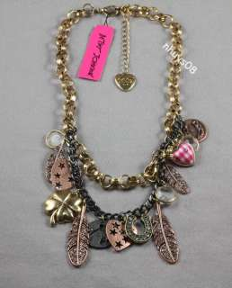 Betsey Johnson LADY LUCK Charm Necklace NWT clover heart feather