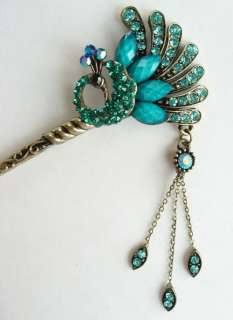 VARY COLORS SWAROVSKI CRYSTAL PEACOCK DANGLE HAIR STICK PIN PICK 523