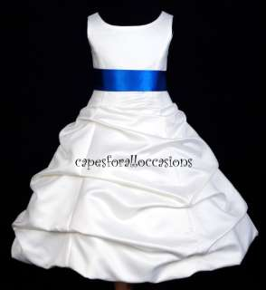 WHITE ROYAL BLUE WEDDING BRIDAL PAGEANT FLOWER GIRL DRESS 2 4 6 6X 8
