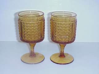 ANTIQUE EAPG AMBER PRESSED GLASS GOBLETS FINECUT PANEL