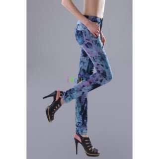 WOMENS JEANS SLIM FIT SKINNY DENIM COLORFUL WASHED PANTS sz 6 8 10 12