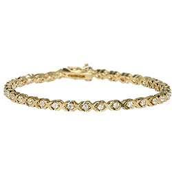 14k Gold Overlay CZ XOXO Tennis Bracelet