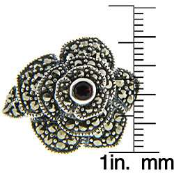 Sterling Silver Marcasite Stone Flower Ring