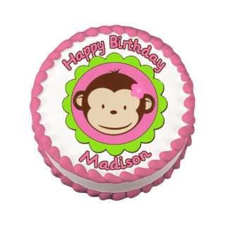 MOD MONKEY PINK Edible Cake Image Party Decoration
