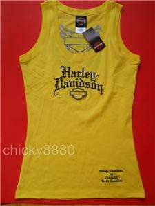 HARLEY DAVIDSON L Angel Wing Tank Top Yellow NWT L