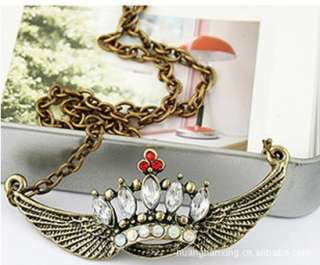New Design Angel Wings Heart Sweater Chain Necklace Pendants