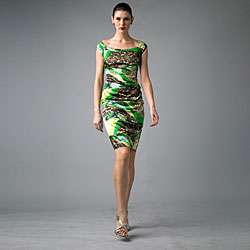 Issue New York Womens Green Animal Ruched Cap sleeve Dress