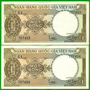 Vietnam South 1964 1 Dong P15, Consecutive 2 notes UNC