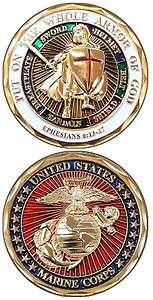 US MARINE CORPS CHALLENGE COIN ARMOR OF GOD ★ EGA EPH