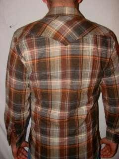 Vtg 70s Brown H BAR C WESTERN SNAP LS Wool Shirt Sz M