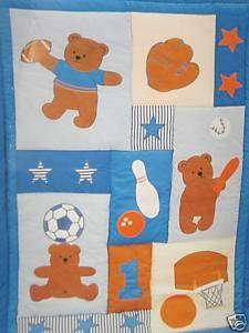 Blue Baby Boy Sporty Bear Crib Quilt Blanket Throw   NEW   FREE