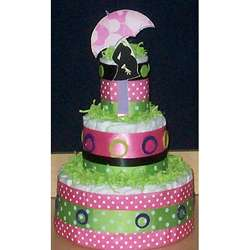 Hot Pink Mod Mom Diaper Cake Baby Gift